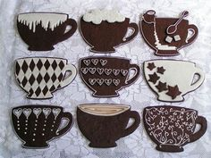Cup cookies - perfect for a coffee themed party . I Love Coffee, My Coffee, Coffee Cups, Tea Cups, Coffee Area, Coffee Truck, Black Coffee, Baker Recipes, Cookie Recipes