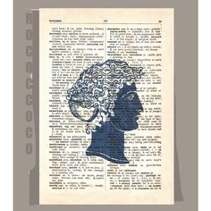 Antique Greek SILHOUETTE  - ORIGINAL ARTWORK  printed on Repurposed Vintage Dictionary page -Upcycled Book Print by RococcoCo on Etsy https://www.etsy.com/listing/64317590/antique-greek-silhouette-original