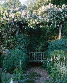 Garden Images, Garden Photos, New York Galleries, Herb Garden Design, Garden Seating, Garden Benches, Blooming Trees, Moon Garden, Old Farm Houses