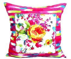 Fuchsia pink throw pillow sham  Floral applique cushion by SABDECO