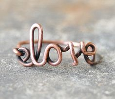Love ring, Copper ring, Oxidized, Custom sized, Wire jewelry. $14.00, via Etsy.