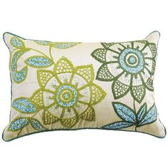 Green Flowers Pillow     Add some retro floral patterns to your home with this pillow. Covered in embroidered flowers with touches of beadwork, this pillow can add a fresh burst of flowers to your room any time of the year.  Details  http://www.pier1.com/Green-Flowers-Pillow/2582718,default,pd.html  Product Actions  Add to cart options  Quantity  $24.95 $19.98