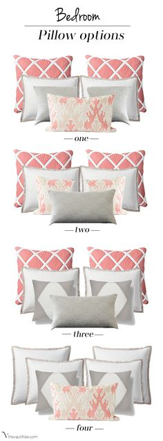 When it comes to accessorizing with accent pillows Acosta Acosta Wirth Art finds there are so many questions . choosing how many pillows, what size pillows, what fabric on which pillows. However, this chart of pillow groupings will help to sto Dream Bedroom, Home Bedroom, Bedroom Decor, Bedroom Colors, Coral Bedroom, Master Bedroom, Bedroom Interiors, Girls Bedroom, Bedroom Furniture