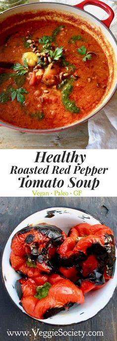 Healthy Roasted Red Pepper Tomato Soup Recipe with Pesto and Smoked Paprika. Vegan • Easy • Paleo • Gluten-free | VeggieSociety.com @VeggieSociety #1