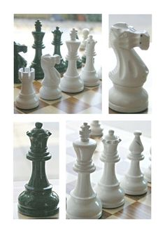American Staunton chess set in dark green and white. Traditional in shape but not in colour. Classic clean simple lines. A beautiful wooden chess set in gloss. M3009. Brought to you by ChessBaron.co.uk very cool.