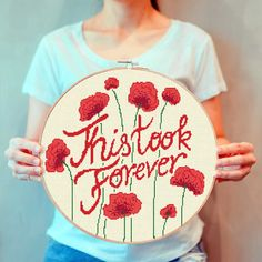 Beautiful red poppy cross stitch pattern with a funny quote that every cross stitcher will understand. Perfect for a larger cross-stitch project, great for square or circle compositions. Corky home decor with a funny twist. Click on the link and get yours now! Funny Cross Stitch Patterns, Red Poppies, Poppy, Larger, Chart, Quote, Link, Floral, Flowers