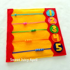 Abacus Bead Counting Quiet Book Page от SweetJuicyApril на Etsy Diy Quiet Books, Baby Quiet Book, Felt Quiet Books, Book Activities, Toddler Activities, Indoor Activities, Summer Activities, Activity Books, Quiet Book Patterns