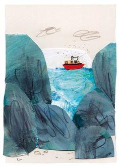 """Boat"" by Caroline Pedler, mixed media collage, 15 x Collage, mixed media and printmaking Collages, Paper Collage Art, Paper Art, Collage Drawing, Collage Artwork, Art And Illustration, Collage Illustrations, Art Club, Illustrators"