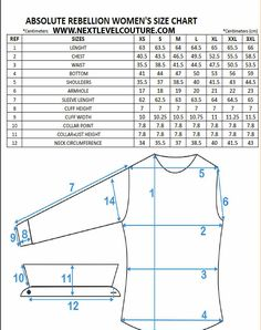 Nextlevel present to you Absolute Rebellion women designer shirts fitment guide chart. We welcome you to use our size chart to aid in finding the correct ladies designer shirt size Shirt Patterns For Women, Dress Shirts For Women, Ladies Shirt Pattern, Techniques Couture, Sewing Techniques, Womens Size Chart, Dress Size Chart Women, Baby Size Chart, Dress Sewing Patterns