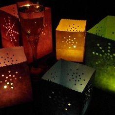 Mini Colour Candle Bags - pack of 12 sunburst / firework paper lanterns