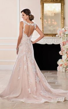 6498 Modern A-Line with Illusion Keyhole Back by Stella York