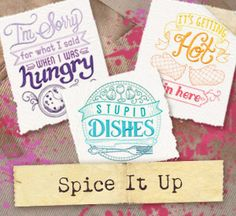 Open up the kitchen cupboards, turn on the oven, and let loose! This set of spirited cooking and baking designs is perfect for aprons, oven mitts, and more!
