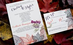 Chelsey's Autumn Rhapsody Wedding Invitation suite features stylish line drawings of different leaves in many colours. Add Optional: day-of stationery.