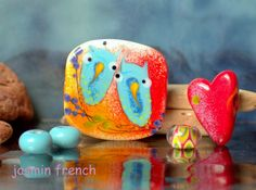 jasmin french ' Chatterers ' lampwork focal glass art bead set