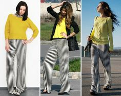 Outfits Pantalon Negro, Sewing Hacks, Sewing Tips, Pretty Outfits, Pretty Clothes, Striped Pants, How To Look Better, Summer Outfits, Trousers