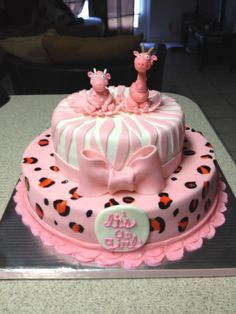 Pink Safari Baby Shower Cake  @ Www.facebook.com/sweetkreationsbybecky