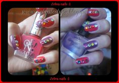 Zebra Testuje: Dwa kolory na pazurkach + kolorowe cyrkonie Manicure, Nails, Nail Polish, Beauty, Nail Bar, Finger Nails, Ongles, Nail Polishes, Polish