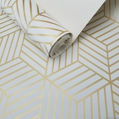 Geometric Gold Hexagon Peel and Stick Mid Century Modern Wallpaper D Marie Interiors Wallpaper Natal, Of Wallpaper, Bathroom Wallpaper Modern, Closet Wallpaper, Mid Century Modern Design, Mid Century Modern Furniture, French Furniture, Classic Furniture, Mid Century Interior Design