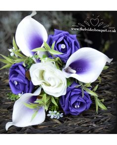 Childs Bouquet Purple Centred Picasso Calla Lilies With Ivory and Purple or Ice Lilac Artificial Rose and Foliage Flower girl, Bridesmaid Posy
