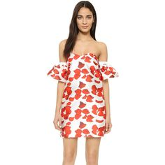 re:named Red Petals Off Shoulder Dress (€55) ❤ liked on Polyvore featuring dresses, red, print dress, off the shoulder cocktail dress, red mini dress, print mini dress and short dresses