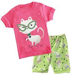 Cczmfeas Girls Pajamas Children Pjs Kids Sleepwear Toddler Clothes Cotton  Short Set Girl Outfits 4365d3e5a