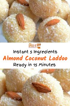 Super easy to make almond coconut laddoo with condensed milk is ready to eat in 15 minutes. Learn how to make this 5 ingredients laddoo recipe with products easily available in any supermarket. Instant Indian dessert recipe for all to enjoy. Easy Indian Dessert Recipes, Indian Desserts, Indian Sweets, Sweets Recipes, Indian Food Recipes, Cooking Recipes, Easy Indian Sweet Recipes, Laddoo Recipe, Milk Dessert