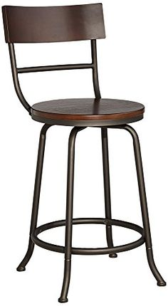 "Langdon 24"" Wood and Bronze Metal Counter Stool Universal Lighting and Decor http://www.amazon.com/dp/B00V0BTD6A/ref=cm_sw_r_pi_dp_Gnn3wb012VNQ1"