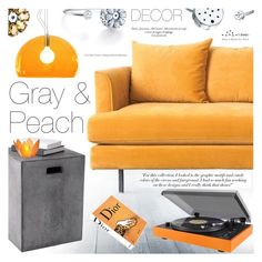 """""""Color Challenge: Gray & Peach"""" by totwoo ❤ liked on Polyvore featuring Gus* Modern, Victoria Beckham, Sunpan, Dot & Bo, Kartell, Cultural Intrigue and Assouline Publishing"""