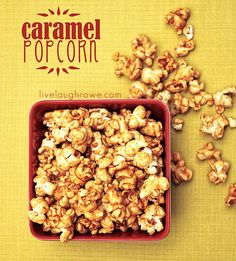 Homemade Caramel popcorn    So delicious! I would eat it every night if it weren't made out of a stick of butter and a cup of brown sugar!
