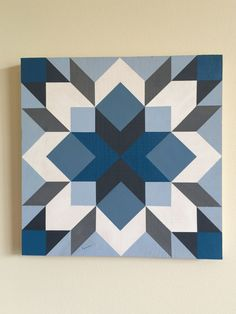 Quilting - Hand painted in shades of blue and gray, this graphic quilt will add style and drama to any space. If you need a pop of color this quilt is for you! Barn Quilt Designs, Barn Quilt Patterns, Quilting Designs, Quilt Block Patterns 12 Inch, Star Quilt Blocks, Star Quilts, Scrappy Quilts, Painted Barn Quilts, Barn Wood Signs