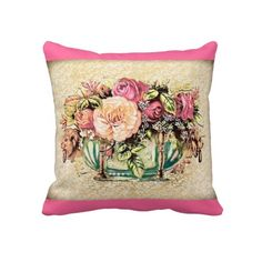 Victorian cabbage roses vintage illustration pillow. Beautiful accent in any room. #pillows #cushions #vintage