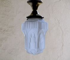 French Art Deco LARGE SKYSCRAPER Hanging Light by Decofanatique