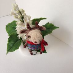 Funny crochet beige elk with embroidery in red scarf от LozArts