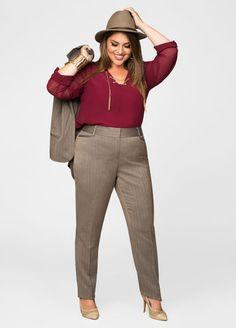 Herringbone Trouser Suit Pants From The Plus Size Fashion Community At www.VintageAndCurvy.com