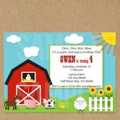 Farm Birthday Invitation Farm Birthday Party by pipsqueakpress