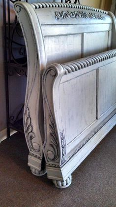 Custom painted sleigh bed by Chalkolates Bedroom Furniture Makeover, Painted Bedroom Furniture, Chalk Paint Furniture, Distressed Furniture, Refurbished Furniture, Bed Furniture, Bedroom Decor, Teen Bedroom, Bedrooms