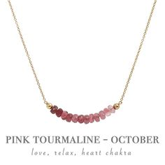 Rubellite Pink Tourmaline Necklace - October Birthstone - Beaded Bar Necklace in Gold, Rose Gold or Sterling Silver, Gift for Women Tourmaline Necklace, Pink Tourmaline, Gemstone Necklace, October Birthstone Necklace, Birthstone Jewelry, Bar Necklace, Necklaces, October Birth Stone, Metal Beads