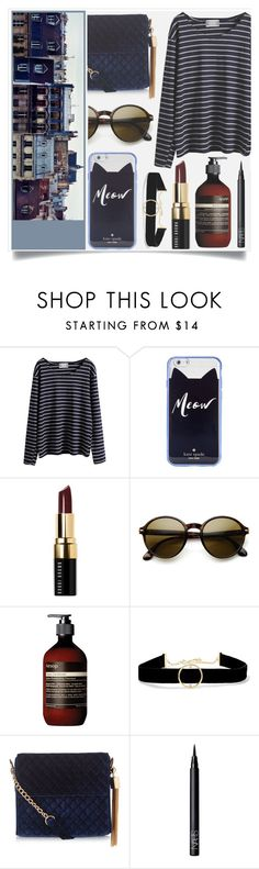 """""""Blue City"""" by racanoki ❤ liked on Polyvore featuring WithChic, Kate Spade, Bobbi Brown Cosmetics, Retrò, Aesop, Anissa Kermiche, New Look, NARS Cosmetics and RaCaNoKi"""
