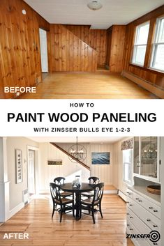 goodbye to knotty pine wood paneling and give your room a fresh new start. Zinsser Bulls Eye Primer is the perfect start for your wood paneling living room makeover, like this one from SoPo Cottage. This water-based primer sticks to all surfac Knotty Pine Paneling, Knotty Pine Walls, Knotty Pine Kitchen, Wood Paneling Makeover, Painting Wood Paneling, Paneling Ideas, Wood Paneling Decor, Painted Panelling, Cover Wood Paneling