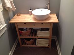 My Bathroom Vanity Update. Cut The Wheels Off A Ikea Kitchen Cart And  Installed A