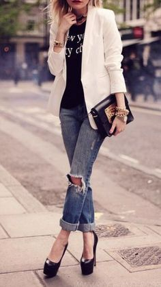 Something similar, but not exactly this look. White blazers + boyfriend jeans.