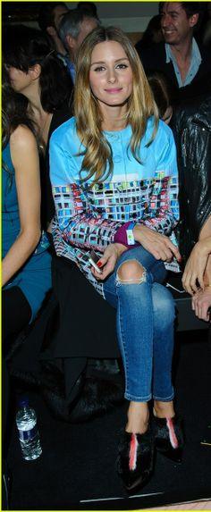 Olivia Palermo wearing Fendi  Fur-Trimmed Patent Leather Ankle Boots Mary Katrantzou Resort 2014 Erno Mini Embellished Blush Jacket
