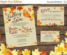 ON SALE Falling in Love - Fall Wedding Invitation Set