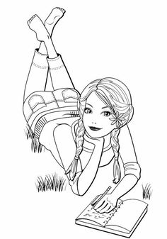 Barbie - Coloring Page Ninjago Coloring Pages, People Coloring Pages, Barbie Coloring Pages, Cute Coloring Pages, Coloring Pages For Girls, Disney Coloring Pages, Coloring Books, Coloring Pages Inspirational, Digi Stamps