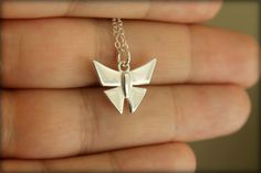 Origami Butterfly Necklace in Sterling Silver on Etsy, $28.00