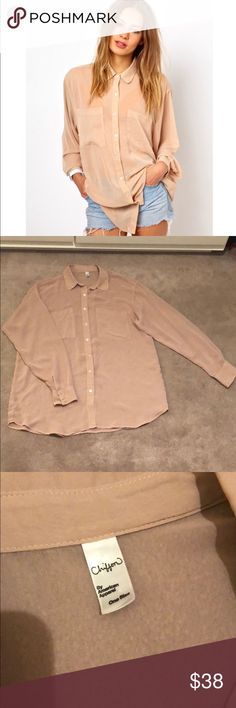 American Apparel Chiffon Oversize Blouse Sheer nude and perfect fit. One size fits most. No stains or snags and in excellent condition. American Apparel Tops Button Down Shirts
