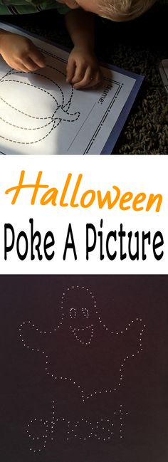 You kids will love using tacks to poke a picture!  Add these to your Halloween activities to work on fine motor skills!