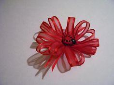 Lady Bug Fancy Ribbon Hair Clip by Stitchinthread on Etsy, $4.00