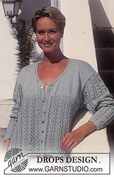 DROPS Jacket in Safran in pattern and stockinette sts Free pattern by DROPS Design. Sweater Knitting Patterns, Knitting Stitches, Free Knitting, Drops Design, Gilet Crochet, Knit Crochet, Lace Patterns, Crochet Patterns, Summer Knitting