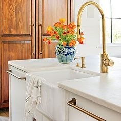 Waterstone | Unlaquered Brass | http://www.waterstoneco.com/catalog/product/waterstone/Contemporary-PLP-Extended-Reach-Pull-Down-Faucet/5323Kitchen Faucet | Brass Kitchen…